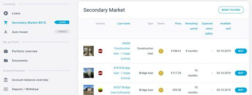 Since September 2019 we finally have secondary market in Estateguru! , so that we can finally sell our shares to other users whenever we want and buy new operations at very interesting prices. Keep in mind that there is a 2% commission for sales in the secondary market (purchases have no commission).