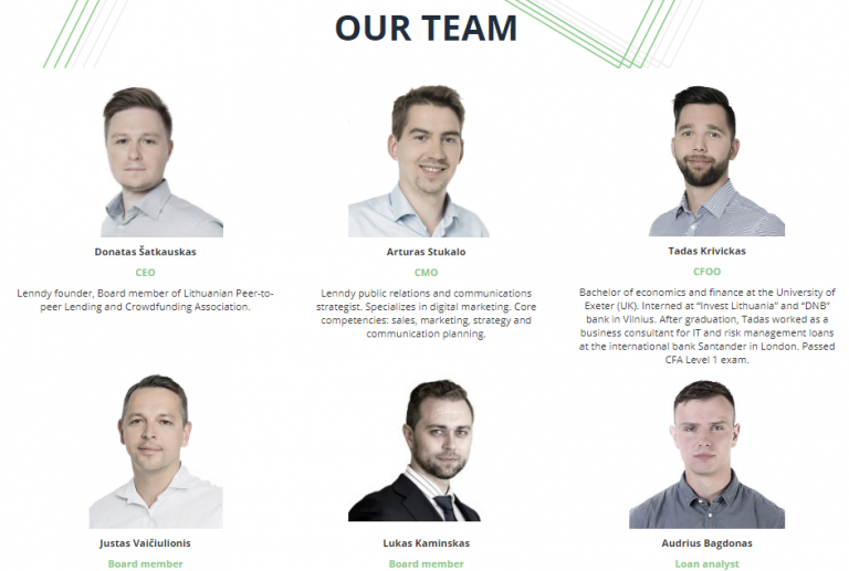 Lenndy has important actors within the Latvian, Lithuanian and European financial sector in general within its experienced staff. Its CEO, Donatas Satkauskas, is a member of the Board of Directors of the Lithuanian Association of crowdfunding and P2P loans, Arturas Stukalo is the company's CMO, expert in digital marketing and communication and its CFO Tadas Krivickas has worked in the department of Santander bank risks in London.