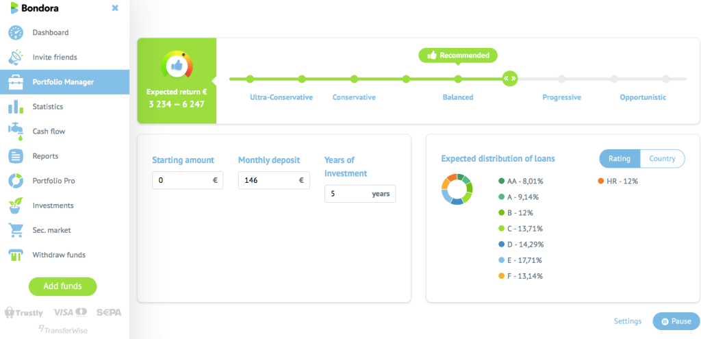 With portfolio manager you set a desired risk tolerance on a sliding bar and tick off your bid sizes (loan sizes) under settings. Bondora then automatically invest your funds immediately.