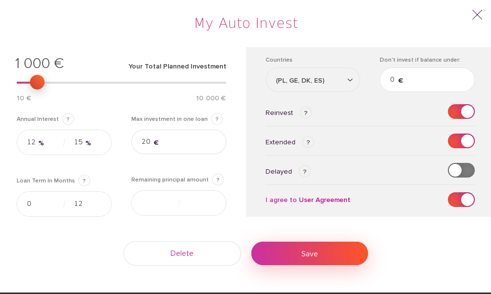 Swaper offers an auto-invest function, and it is effortless to configure. Once you have transfer funds to your investor account. Swaper offers also a secondary market. You can simply sell the loans to the secondary market automatically by choosing the filters to select the loans you would like to sell or pick them manually from the list and click on the loans.